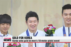 Korea wins gold in men's 10-meter pistol team event