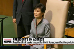 President Park seeks support for North Korea policies at UN General Assembly