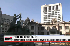 Korea's foreign debt falls on weak local currency against dollar