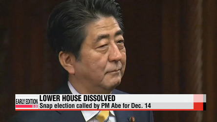 Japanese PM dissolves lower house of parliament, calls snap elections