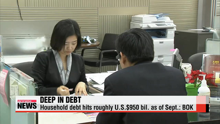 Korea's household debt at US$950 bil. as of end of Sept.