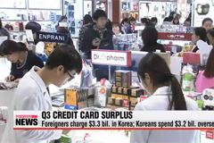 Foreigners' credit card spending tops amount spent by Koreans overseas