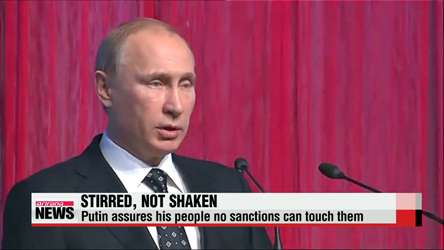 Russian President Vladimir Putin assures his people no sanctions can touch them