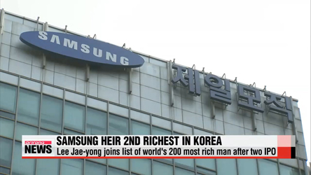 Samsung heir jumps into top 200 richest people list after holdings company listing