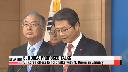 S. Korea proposes talks with N. Korea in January