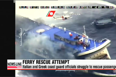 Coast guard officials struggle to rescue passengers from stricken Italian ferry