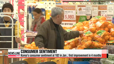 Korea's consumer sentiment rebounds from 3-month fall in Jan.