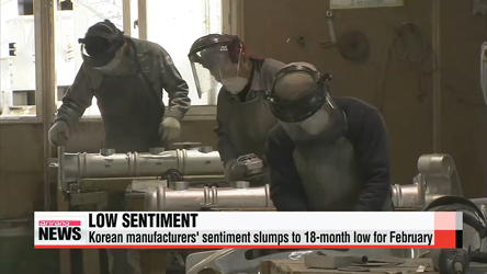 Korean manufacturers' sentiment slumps to 18-month low for February