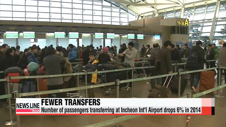 Number of passengers transferring at Incheon Int'l Airport drops 6% in 2014