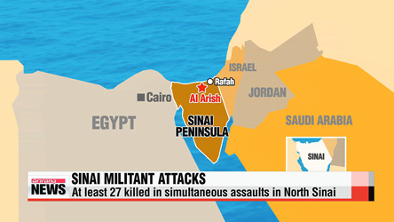 At least 30 killed in simultaneous assaults in North Sinai