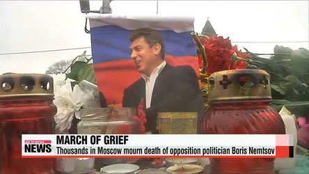 Thousands gather in Moscow to mourn death of opposition politician Boris Nemtsov