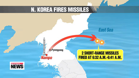 N. Korea fires short-range missiles to protest S. Korea-U.S. drills