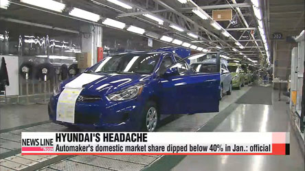 Hyundai Motor's domestic market share dipped below 40% in Jan.: official