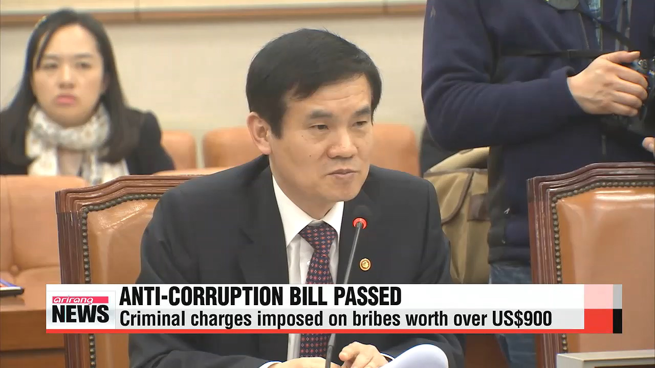 Korea passes first-ever anti-corruption bill on Tuesday