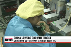 China lowers growth target, increases military budget