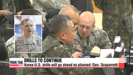 Korea-U.S. military drills to continue as planned: Gen. Scaparrotti