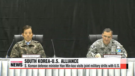 South Korea's defense minister visits joint military drills with U.S.