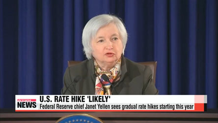 U.S. Federal Reserve chief Janet Yellen sees gradual rate hikes starting this year