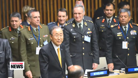UN chief Ban Ki-moon appeals to world military leaders for unity, backing on peacekeeping