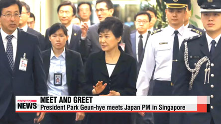 Pres. Park Geun-hye meets Japanese PM Shinzo Abe in Singapore