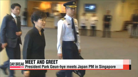 President Park Geun-hye meets Japanese PM in Singapore