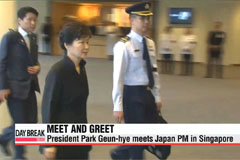 Pres. Park Geun-hye meets Japanese PM in Singapore
