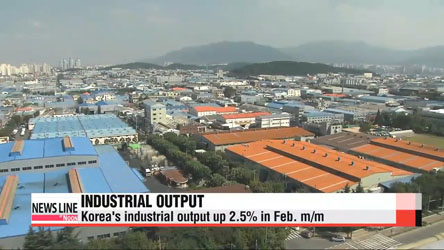 Korea's industrial output up 2.5% in Feb. m/m