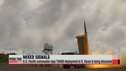 U.S. Pacific commander says U.S. is discussing THAAD deployment to S. Korea