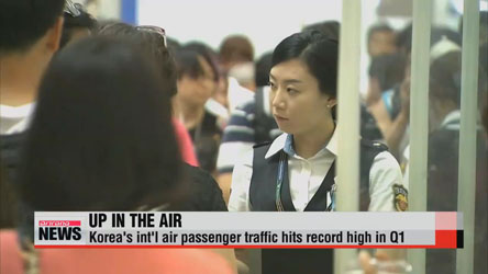 Korea's int'l air passenger traffic hits record high in Q1