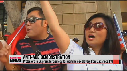 Protesters in LA press for apology for wartime sex slavery from Japanese PM