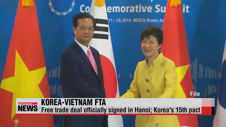Korea, Vietnam officially sign bilateral free trade deal
