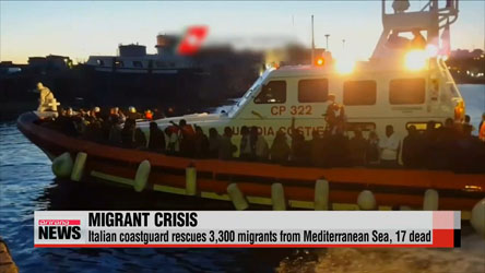 Italian coastguard rescues 3,300 migrants from Mediterranean Sea, 17 dead