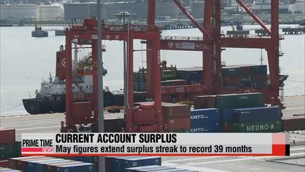Korea logs current account surplus for 39th straight month in May