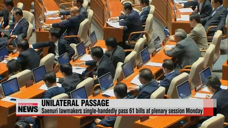 Korea's ruling Saenuri Party single-handedly passes 61 bills