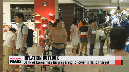 Bank of Korea may be preparing to lower inflation target